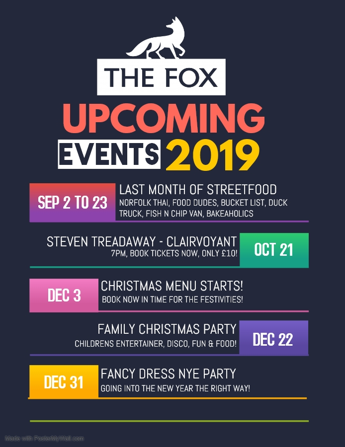 Upcoming Events Autumn Winter 2019.